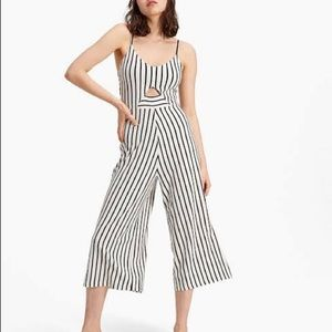 Cut Out Front Stripe Printed Jumpsuit